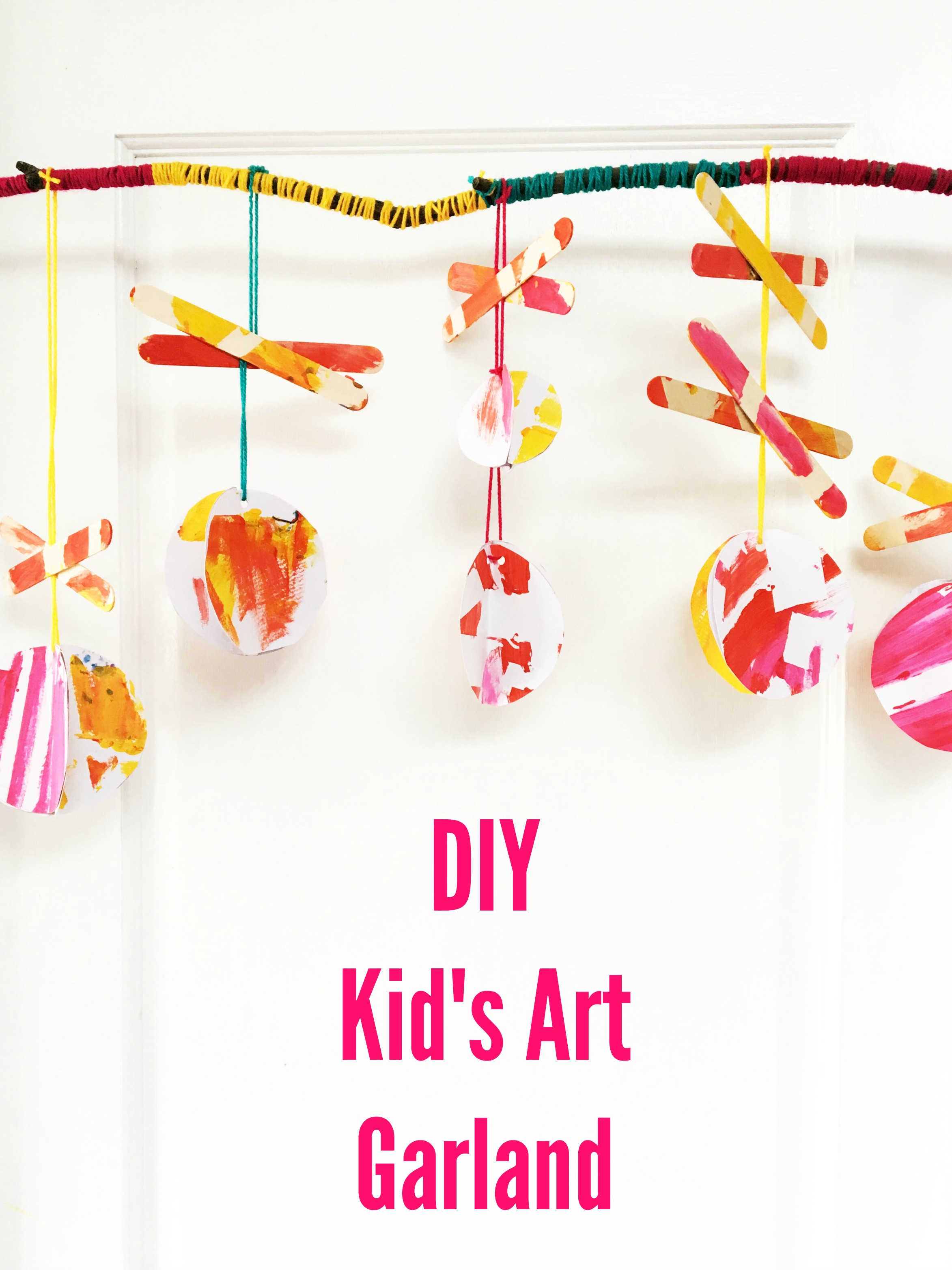 DIY Kid's Art Garland using craft sticks and paint