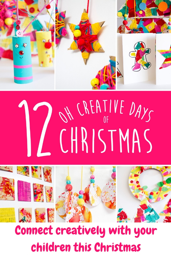 """Do you and your children love Christmas crafts? Grab a copy of my """"12 Oh Creative Days of Christmas"""" eBook. Creatively connect with your children through art, craft and play this festive season. 70+ pages featuring… 12 projects with detailed tutorials 