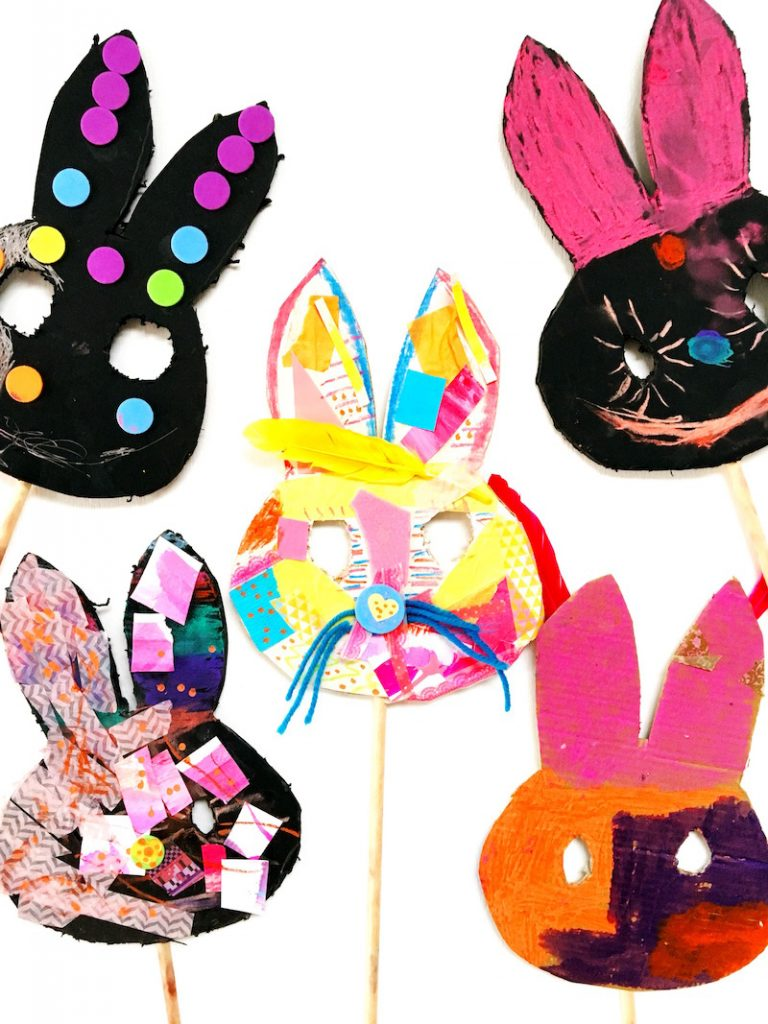 A collection of child made bunny masks with collage