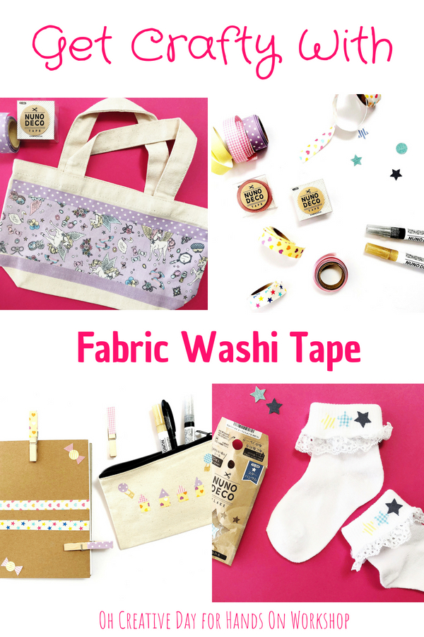 Use Nuno Deco iron-on washi tape to personalise fabrics, stationery, games and toys- you are only limited by your imagination. What makes Nuno Deco tape unique? It is a fabric washi tape with a peel-off backing. You can apply it to fabrics, iron it in place and it can be put through the wash. Amazing! #washitape #washitapecrafts