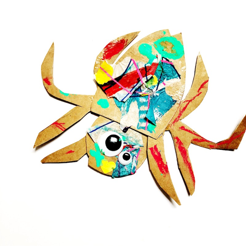 A kids craft project of a spider inspired by Eric Carle's Very Busy Spider