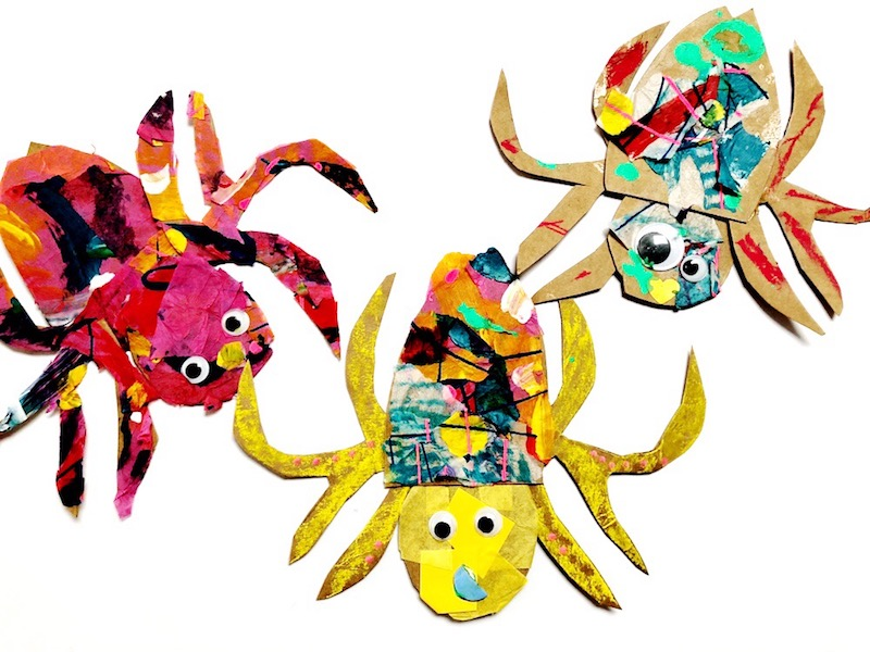 3 spider crafts for kids inspired by The Very Busy Spider by Eric Carle