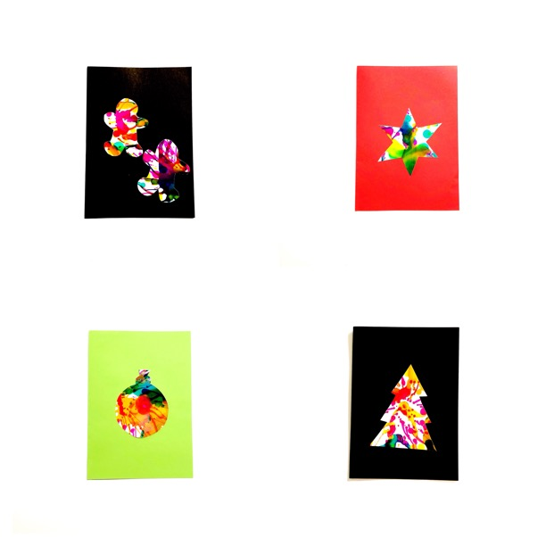 Spin Art Christmas Cards for Kids