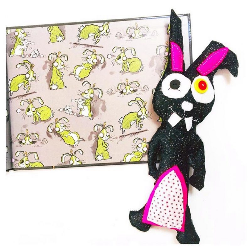 End papers of picture book My Dead Bunny with a felt zombie bunny