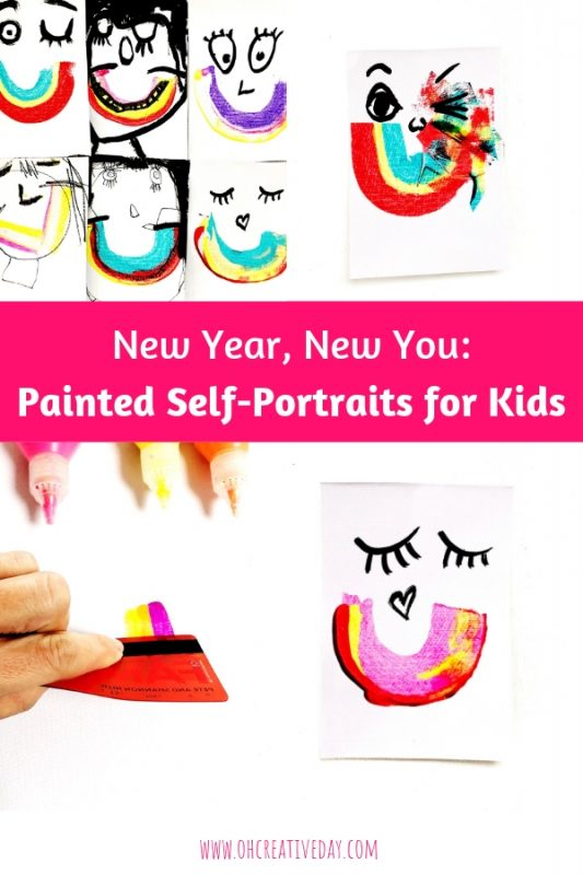 Colourful painted self portraits are shown with the text overlay of New Year, New You: Painted Self-Portraits for Kids
