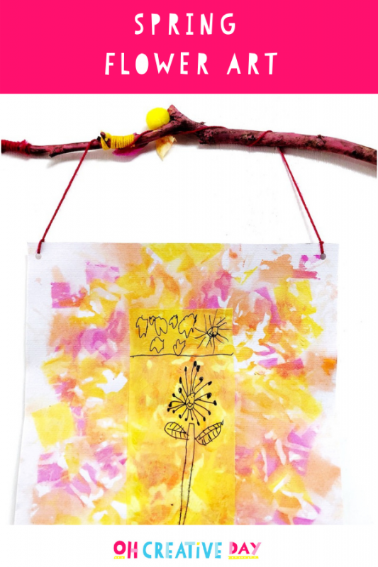 TEXT OVERLAY reads SPRING FLOWER ART. A photo shows some colourful children's art.