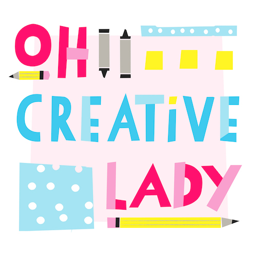 An image with the text Oh Creative Lady and graphics of pencils.