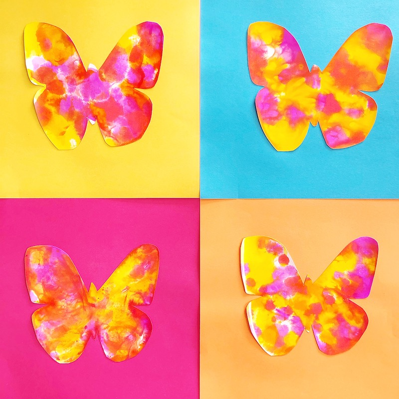 4 painted butterflies from a kids art project