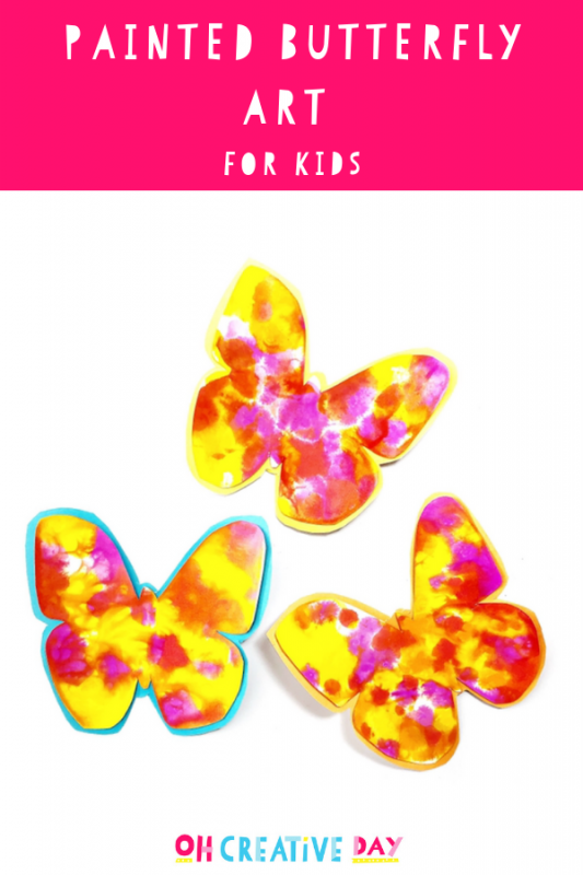 Text Overlay says Painted Butterfly Art for Kids with picture of colourful butterflies