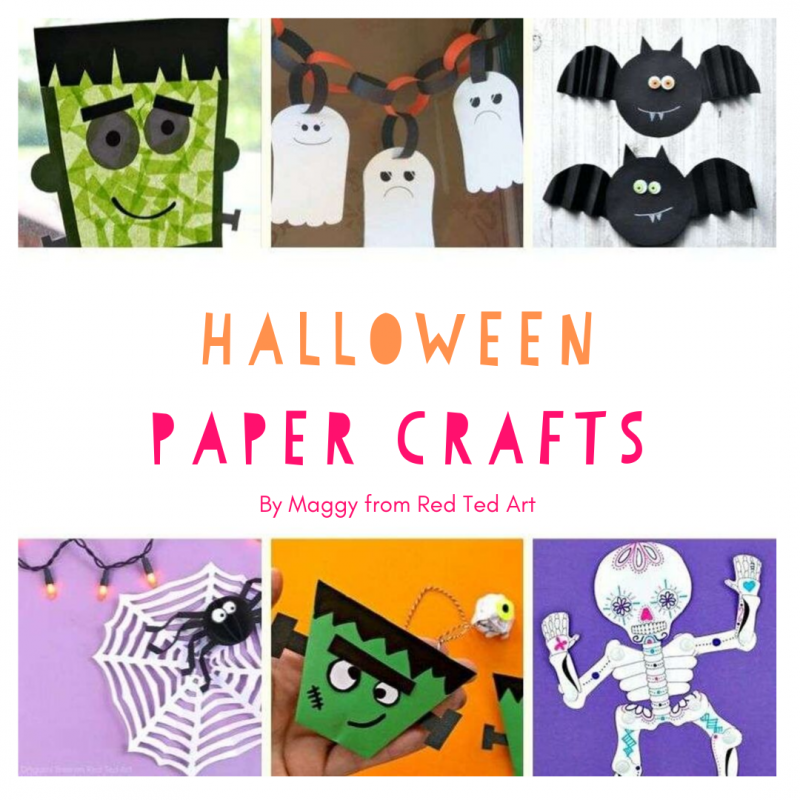 A selection of halloween paper crafts for kids.