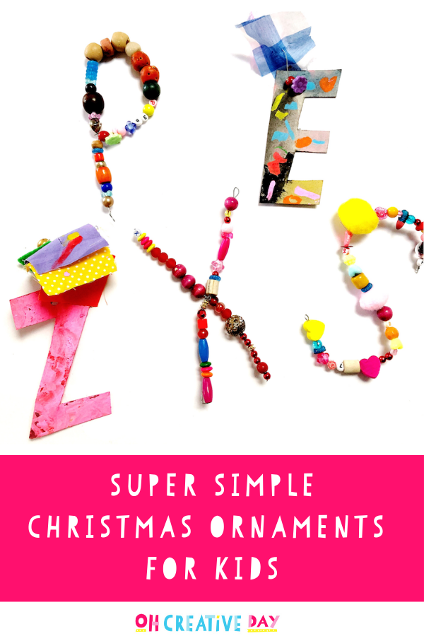 A kid-made Christmas craft featuring beaded ornaments
