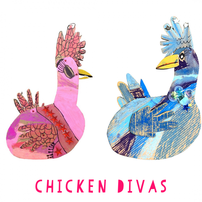 "Chicken DIva craft for the book ""Whitney and Britney Chicken Divas."""